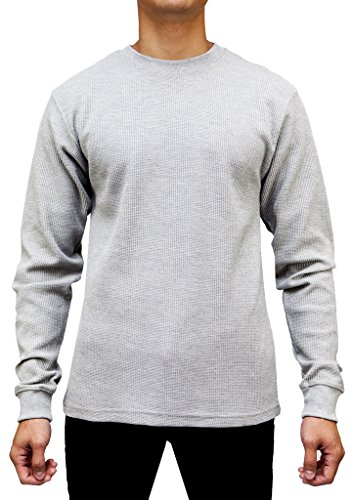 Access Men's Heavyweight Long Sleeve Thermal Crew Neck Top LtGray Medium