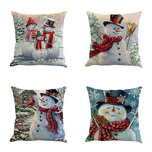 XIECCX Throw Pillow Cover 18 x 18 Inches Set of 4 - Christmas Series Cushion Cover Case Pillow Custom Zippered Square Pillowcase(Christmas Snowman) (Pillow Snowman Throw)