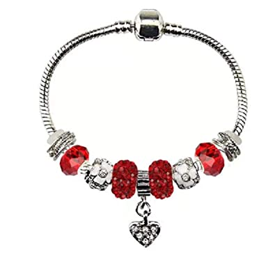 016ff6560 White Birch Charm Bracelet for Women Maroon Red Fit Pandora 7.1 inch DIY  High Shine January