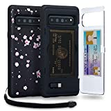 TORU CX PRO Galaxy S10 5G Wallet Case Pattern Floral with Hidden Credit Card Holder ID Slot Hard Cover, Strap, Mirror & USB Adapter for Samsung Galaxy S10 5G (2019) - Sakura Flowers