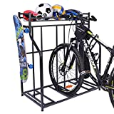 Mythinglogic Bike Rack, Bicycle Holder with Baskets Collection Organizer and 4 Hooks, 3 Bicycle Floor Parking Stands, Bike Storage Stand, Bike Rack Garage, Free Standing Bike Rack, Indoor Bike Rack