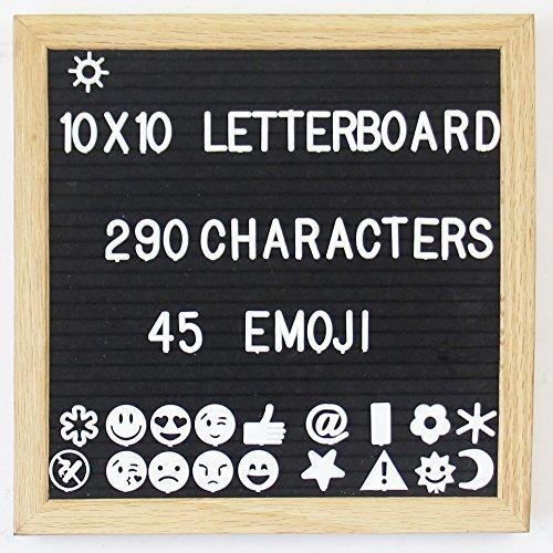 Fieltro letra enmarcada (), nuevo, 10x 10, marco de roble, soporte de plástico, 290caracteres, 45Emoji/Símbolos...