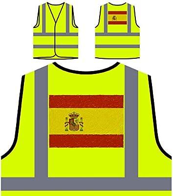 Nueva Bandera De España Arte Chaqueta de seguridad amarillo personalizado de alta visibilidad i221v: Amazon.es: Industria, empresas y ciencia