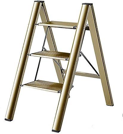 Escalera Portátil Plegable, Escalera Multifuncional Ligera de 2 Peldaños / 3 Peldaños para Cocina/Oficina, Carga de 150 kg, Negro/Blanco/Dorado (Color : Gold, Size : 3 Steps): Amazon.es: Hogar