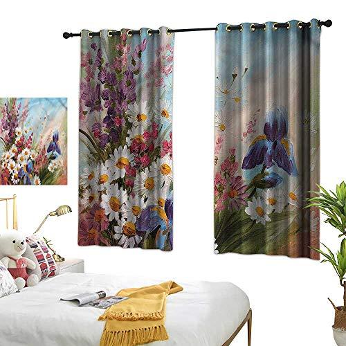 (LewisColeridge Room Darkening Wide Curtains Flower,Colorful Garden Art Tulips,Light Blocking Drapes with Liner 42
