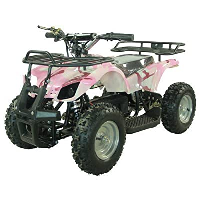 FamilyGoKarts Youth Electric Kids Quad Utility ATV for Children with Reverse - Pink Camo: Toys & Games
