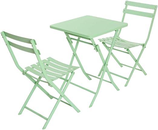 JTWJ Mesa y sillas Plegables al Aire Libre balcón Mesa de café de ...