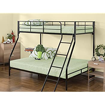 zinus easy assembly quick lock metal bunk bed quick to assemble in under an hour twin over full - Metal Bunk Bed Frames