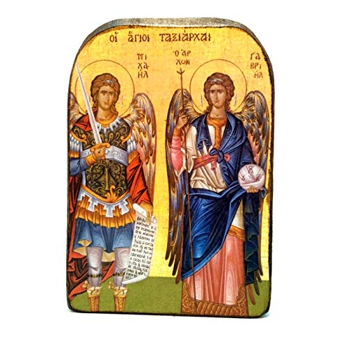 Handmade Wooden Greek Christian Orthodox Mount Athos Icon of Archangels Michael and Gabriel - Icon Michael Archangel