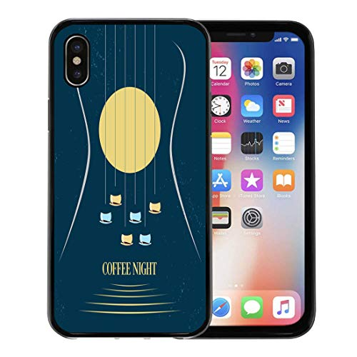 Emvency Phone Case for Apple iPhone Xs Case/iPhone X Case,Black Acoustic Coffee Night Moon Cups As Silhouette Soft Rubber Border Decorative, Black