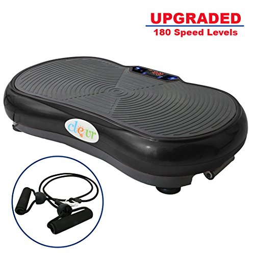 Clevr Upgraded Mini Crazy Fit Black Crazy Fit Whole Full Body Shape Exercise Machine,Vibration Plate ,Fit Massage Workout Trainer, Max User Weight 330lbs, Upgrade 180 speed levels, Black