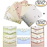 Bolbove 40 Writing Paper Stationery Sheets & 20 Envelopes Lovely Plants Cute Animals + 27 Label Seal Stickers (Style B Unframed)
