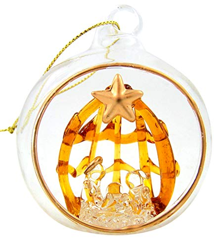 - Spun Glass Holy Family with Star Nativity Christmas Ornament, 2 1/2 Inch