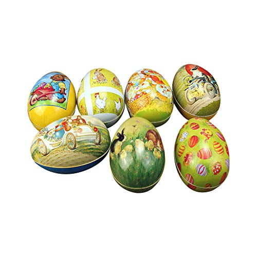 Zripool Kids Easter Egg Shaped Candy Tin Rabbit Pattern Creative Candy Packaging Box Festival Wedding Supplies