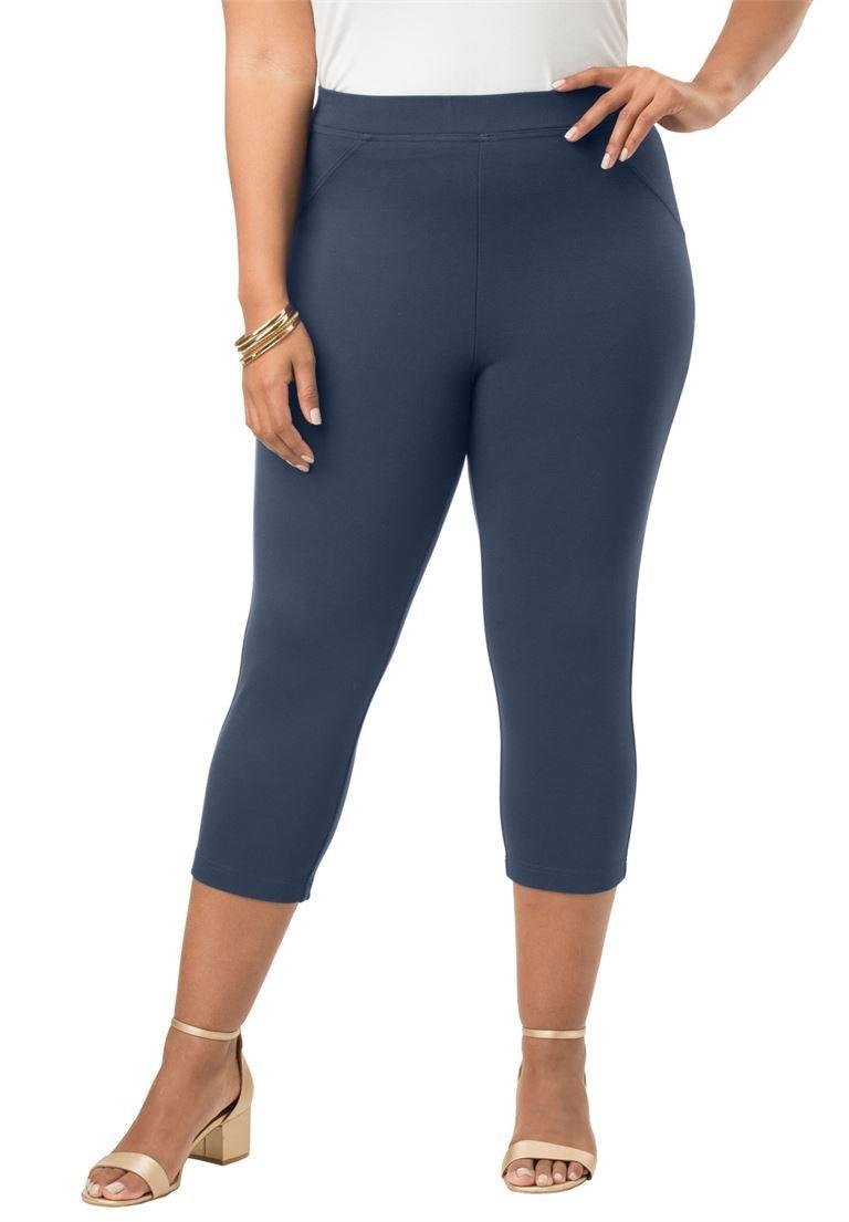 Roamans Women's Plus Size Ponte Capri Pant