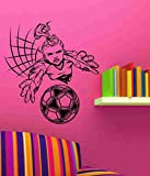 Girl Soccer Goalie Player Vinyl Decal Sticker Wall Art Graphic Kids Room Sports Nursery Wall Vinyl Wall Decal Sticker Art Sports Kid Children Ball Nursery Boy Teen Homerun
