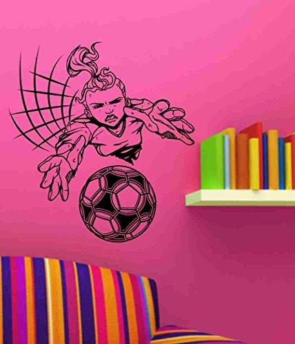 Girl Soccer Goalie Player Vinyl Decal Sticker Wall Art Graphic Kids Room Sports Nursery Wall Vinyl Wall Decal Sticker Art Sports Kid Children Ball Nursery Boy Teen Homerun by Dabbledown