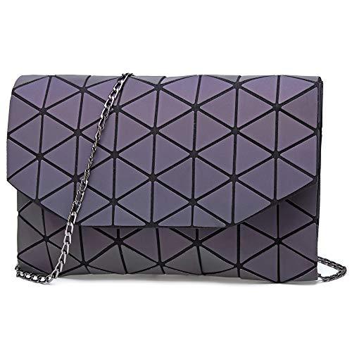 KAISIBO Fashion Geometric Lattice Tote Glossy Purses and Handbags PU Leather Shoulder Bag for -