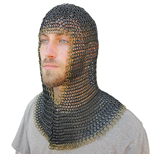 INDIA OVERSEAS TRADING CORP Medieval V Brass Face Mild Steel Chainmail Coif Armor