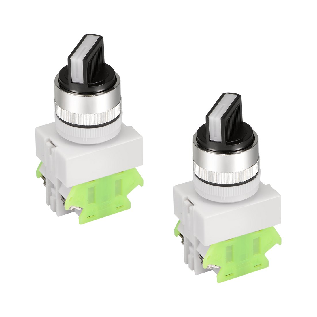 uxcell 2pcs Latching Lock 3 Positions Rotary Selector Select Switch DPST 10A 24mm Mounting Hole Dia