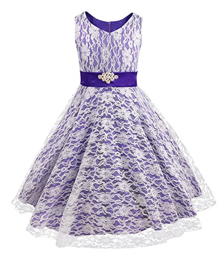 iEFiEL Kids Big Girls V-Neck Lace Flower Dress Graduation Pageant Ball Gown Violet (Ball Gowns For Tweens)