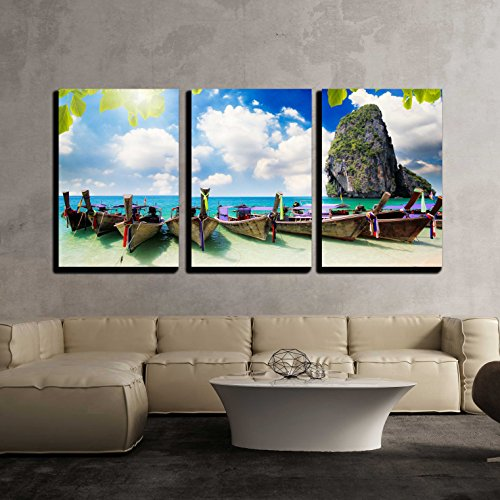 wall26 - 3 Piece Canvas Wall Art - Long Tail Boat on Tropical Beach with Limestone Rock, Krabi, Thailand - Modern Home Decor Stretched and Framed Ready to Hang - 24