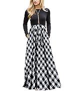 MEROKEETY Women's Plaid Long Sleeve Empire Waist Full Length Maxi Dress