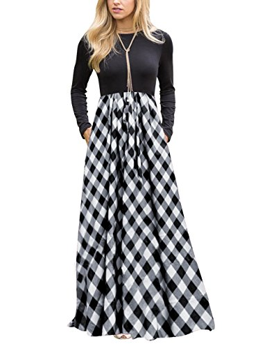 (MEROKEETY Women's Plaid Long Sleeve Empire Waist Full Length Maxi Dress with)