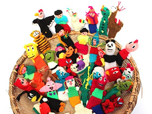 Sanyork Fair Trade #499 25 Lot Peru Finger Puppets Assortment Animals, Insects,People Hand Knit Toy from Sanyork Fair Trade