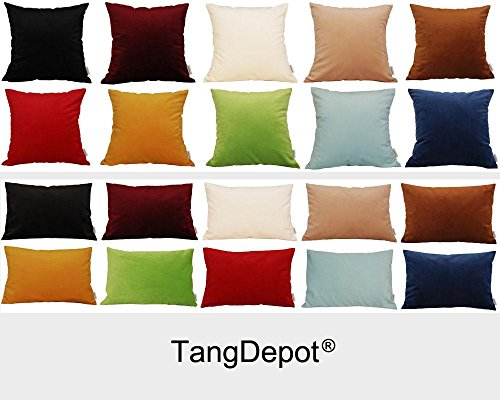 TangDepot-Solid-Velvet-Throw-Pillow-CoverEuro-ShamCushion-Sham-Super-Luxury-Soft-Pillow-Cases-Many-Color-Size-options