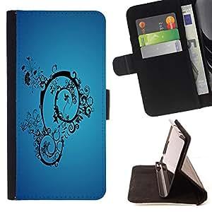 - Blue Abstract - - Prima caja de la PU billetera de cuero con ranuras para tarjetas, efectivo desmontable correa para l Funny HouseFOR Samsung Galaxy S4 Mini i9190