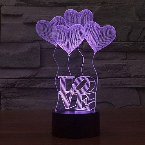 Price comparison product image NIEBC RGB 3D 7-Color Gradual Changing LED Touch Switch Visualization Illusion Atmosphere Light Desklamp Nightlight (Love)