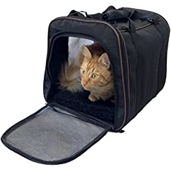 ELenest Pawfect Pet-Pet Carrier, Large Soft Sided Airline Approved for Travel, for Cat & Dog, Top Loading, Foldable for Storage, Black