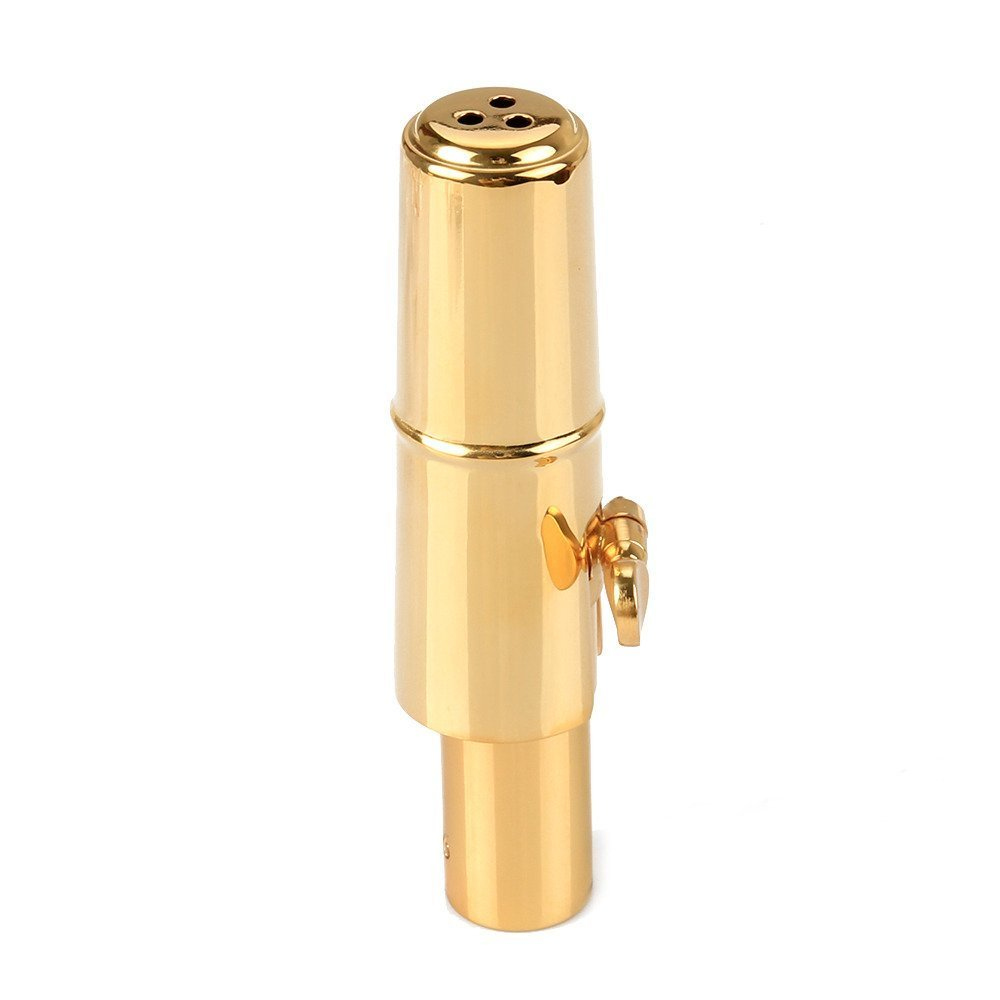 Aibay Gold Plated Bb Tenor Saxophone Metal Mouthpiece with Cap + Ligature #6