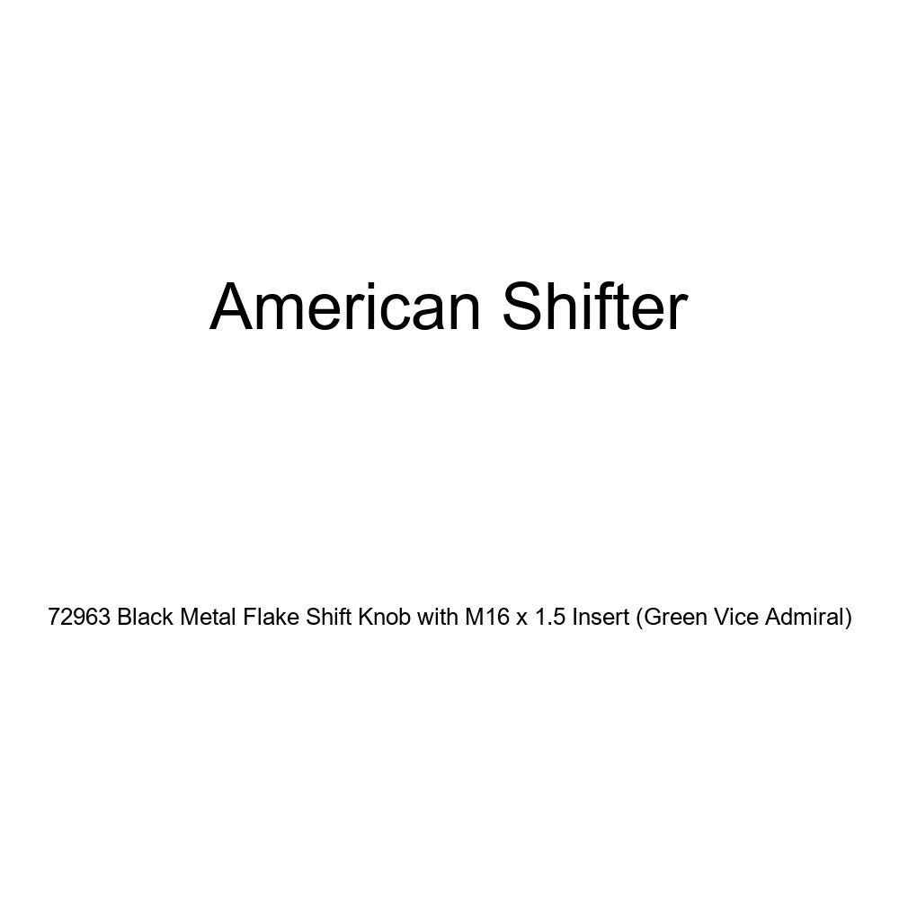 American Shifter 72963 Black Metal Flake Shift Knob with M16 x 1.5 Insert Green Vice Admiral