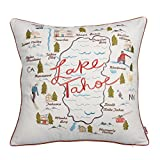 Queenie® - 1 Pc City Scene Embroidery Cotton Linen Decorative Pillowcase Throw Pillow Case Cushion Cover 18 X 18 Inch (45 X 45 Cm) (City Map of Lake Tahoe)