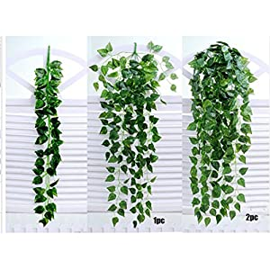 Kacowpper 1 Pack Artificial Wall Hanging Ivy Vine Plants Artificial Fake Hanging Vine Plants Decor Plastic Greenery for Garland Home Garden Wall Indoor Outdside (Begonia leaf) 56