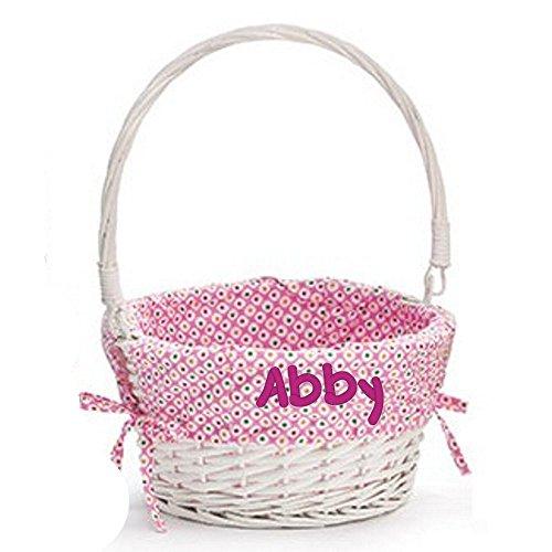 Easter Basket Custom Embroidered with Name on Basket Liner (Pink)