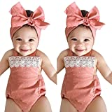 Lurryly 2018 Toddler Baby Girls Romper Jumpsuit Playsuit Infant Headband Pink Clothes Outfits 2Pcs Set (Size:12M,Label Size:90, Pink)