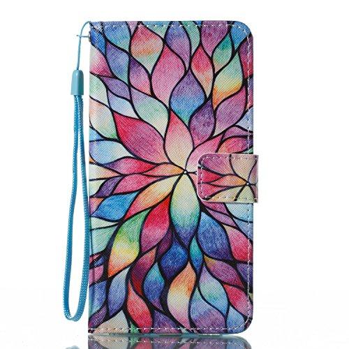 Funda Huawei Y7, Alfort Carcasa Huawei Y7 Prime Cover Case Pintada de la cubierta del Cuero Moda Cascara con Soporte Plegable y Ranura de Tarjeta ( Campanula de blanco ) Loto