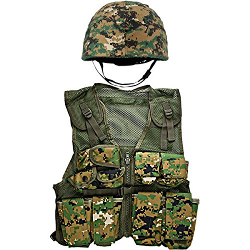 Kids-Army Woodland Digital Helmet and Kids Combat Vest Combo