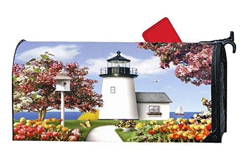 - Magnetic Mailbox Cover - All Weather Vinyl Mailbox Wrap with Decorative Lighthouse Design, Standard Size, 6.5 x 19 inches - Lighthouse Path Birdhouse Flowers Abstract