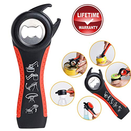 XHL-Oumin All-in-One Jar Opener and Bottle Opener for Any Jar/Bottle Sizes, Soda Can Bottle Opener - Ideal for Weak Hands and Seniors with Arthritis - Red ()