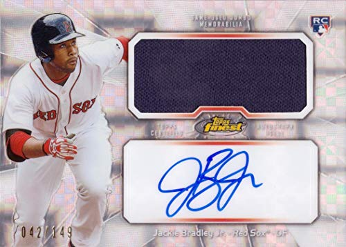 (2013 Topps Finest Jumbo Relics Xfractor #AJR-JB Jackie Bradley Jr Certified Autograph Game Worn Red Sox Jersey Baseball Rookie Card - Only 149 made!)