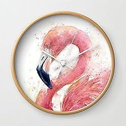 Society6 Pink Flamingo Watercolor Wall Clock Natural Frame, White Hands