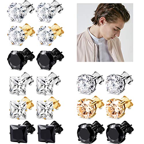 JOERICA 6 Pairs Stainless Steel Stud Earrings for Men Women CZ Earrings,3-8MM (H:9 -