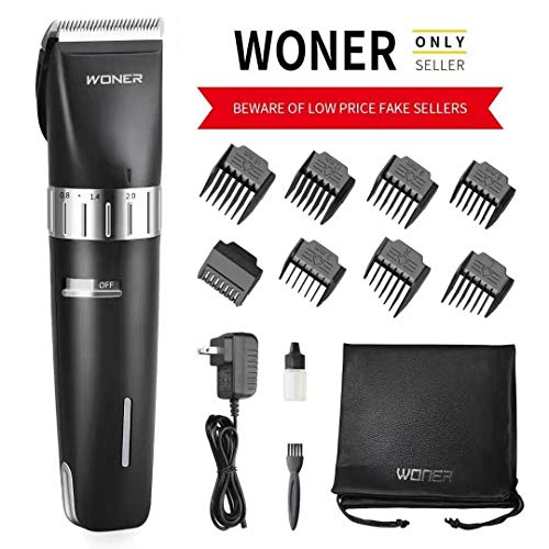 - WONER Hair Clippers Cordless Rechargeable Hair Trimmers Hair Cutting Kit Machine for Men, 2000mAh Lithium Ion, 8 Guards, Oil for Beginner Fathers Husband