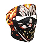 Flaming Smoking Clown Neoprene Motorcycle Face Mask - Biker Wear