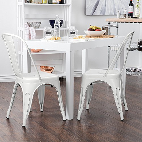 Furmax distreeed dream white metal chair with back,indoor/outdoor,chic dining bistro cafe side chairs(4 pack)