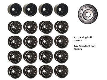 Original VW Volkswagen perno en forma de rueda de aleación de grabado Cap Covers 17 mm incluye cubiertas de contratuerca y herramienta para quitar: ...